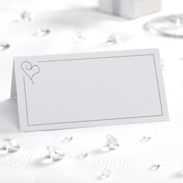 Contemporary Heart Place Cards - White & Silver (50)